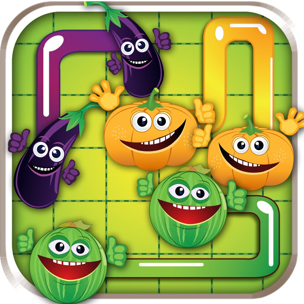 A Salad Match Puzzle - fresh veggies connecting line game